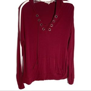 HIPPIE ROSE BURGUNDY LONG SLEEVES HOODIE SMALL
